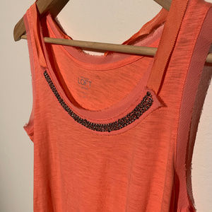 Loft Beaded Cotton Tank with Neck Tie detail